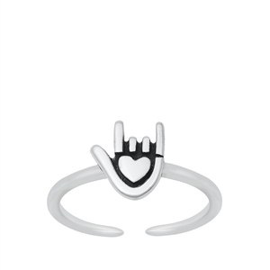 Silver Toe Ring - I Love You Sign