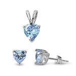 Silver Sets - Aquamarine CZ Heart