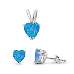 Silver Sets - Blue Opal Heart