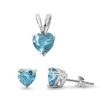 Silver Sets - Blue Topaz CZ Heart