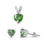 Silver Sets - Emerald CZ Heart