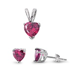 Silver Sets - Ruby CZ Heart