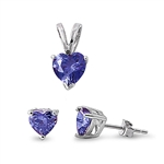 Silver Sets - Tanzanite CZ Heart