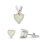 Silver Sets - White Opal Heart