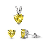 Silver Sets - Yellow Topaz CZ Heart