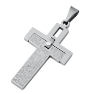 Steel Pendant - Cross w/ Bible Verse