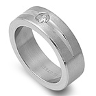 Stainless Steel Ring with CZ - $3.22