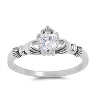 Stainless Steel Ring w/ CZ - Claddagh - $3.28