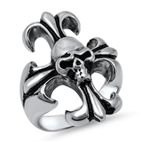 Stainless Steel Cross and Skull Ring - $4.84