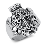 Stainless Steel Ring - Cross Shield - $4.00