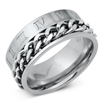 Stainless Steel Ring - Roman Numerals