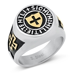 Stainless Steel Ring - Cross Shield