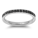 Stainless Steel Eternity Ring W/ Crystal - BLACK - $2.82