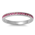 Stainless Steel Eternity Ring W/ Crystal - Rose Pink - $3.10