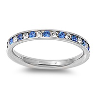 Stainless Steel Eternity Ring W/ Crystal - Blue Sapphire and Clear  -  $2.82