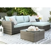 Luies 3-Piece Blue-Gray Outdoor Sectional Set