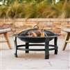 "30"" Round Steel Captain Fire Pit Wood Burning"