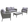 Monti Gray Wicker 4-Piece Conversation Set