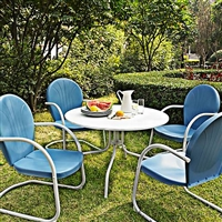 Griffith 5-Piece Sky Blue Retro Outdoor Dining Set