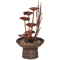 "Water Lilies and Cattails 33"" High Fountain"