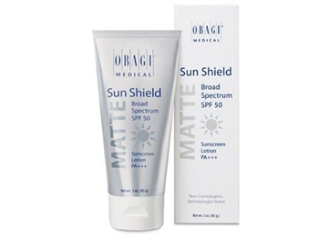 Obagi Sunshield Matte Broad Spectrum SPF 50 contains 10.5% zinc oxide and 7.5% octinoxate.  The sheer formula contains 2 sunscreens to effectively prevent premature aging and burning, while leaving your skin with a matte finish.