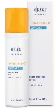 Obagi Professional-C Suncare SPF 30 offers broad-spectrum protection and 10% L-ascorbic acid in a cosmetically elegant, anhydrous formulation to prevent against the signs of skin aging.