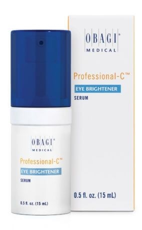 Obagi Professional-C Eye Brightener Serum improves the appearance of dark circles, crepiness, and crow's feet and helps strengthen thin, delicate skin to minimize dark circles. It also helps to control and reduce puffiness from excess fluid.