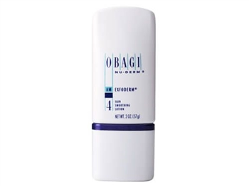 Obagi Nu-Derm Exfoderm  is a mild exfoliating lotion featuring Phytic Acid.  It helps smooth and tone rough or damaged skin.  Plant acid (3% phytic acid) removes old skin cells while promoting new skin cells for a lighter, brighter complexion.