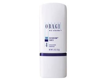 Obagi Nu-Derm Exfoderm Forte contains alpha-hydroxy acid (6% glycolic acid, 4% lactic acid) that removes old skin cells while promoting new skin cells for a lighter, brighter, firmer complexion for skin that needs deeper exfoliation.