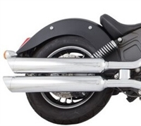 TAB Performance chrome tip compatible exhaust pipe mufflers for a 2014 - Up Indian Scout motorcycle