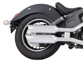 TAB Performance short chrome tip compatible exhaust pipe mufflers for a 2014 - Up Indian Scout motorcycle