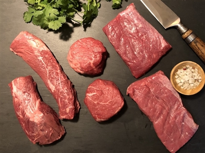 Rube's selection of fresh butcher's favorites including the Butcher's Cut hanger tender, 4 oz sirloin and flank steak.