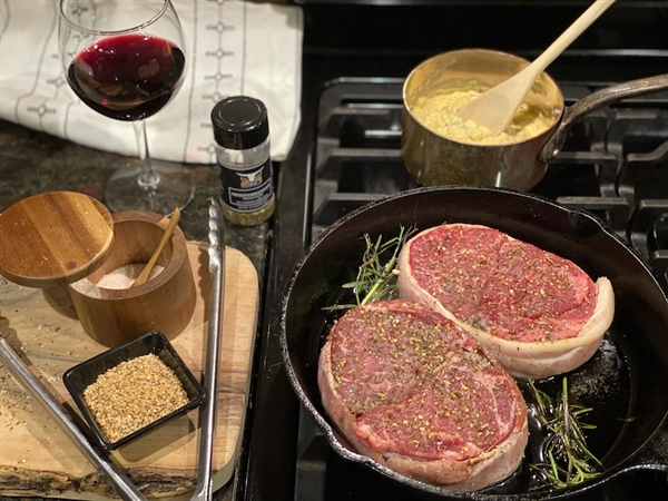 Hand-cut  ounce filet mignon, cut from the beef tenderloin