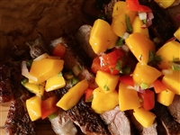 Coffee rubbed steak and mango salsa