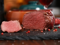 Rube's tender filet mignon seasoned with pink peppercorns