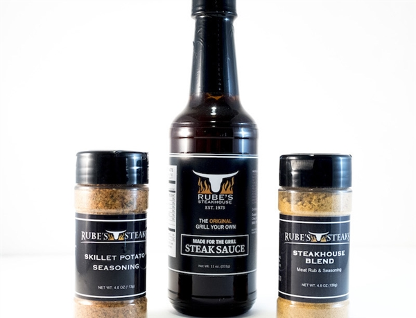 Rube's steak sauce, skillet potato seasoning and steakhouse blend rub.