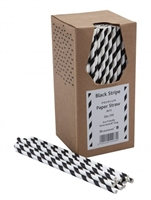 44894 - Black Paper Straws Packed : 250