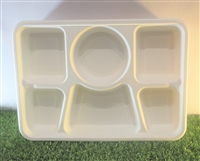 6 Compartment Rectangular Bagasse Plate (Pack 200)