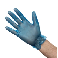 CB254-M - Vogue Vinyl Food-Prep Gloves Blue Powdered - Size M (Box 100)