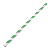 DE928 - Fiesta Green Paper Straw Green & White Stripe - 6mm (Box 250)
