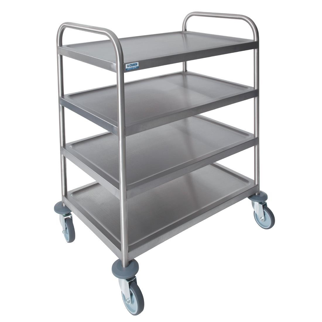 GG136 - Stainless steel, Fully welded construction, Bumpers fitted as standard, 4 tiers, Max weight capacity: 60kg, Useable area (mm): 701 x 450, Shelf size (mm): 75(L)x 501(W), Dimensions 970(H)x 821(W)x 571(D)mm