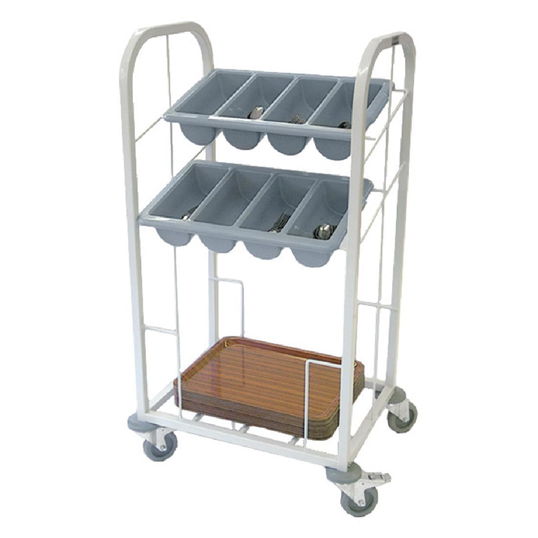 GG139 - Craven Two Tier Cutlery & Tray Dispense Trolley