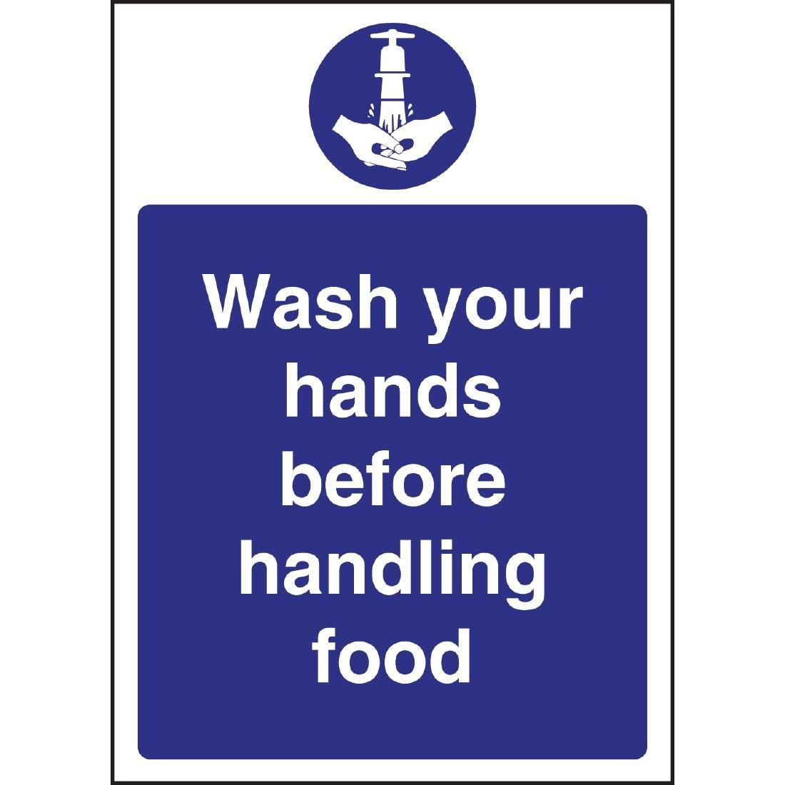 W110 - Wash hands Before Handling Food Sign
