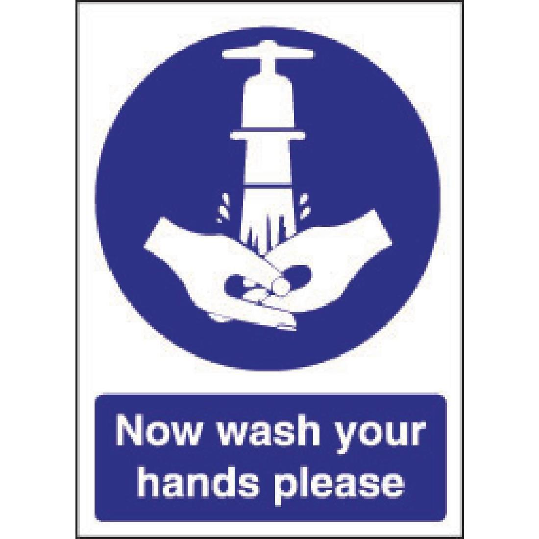 W187 - Now Wash Your Hands Sign