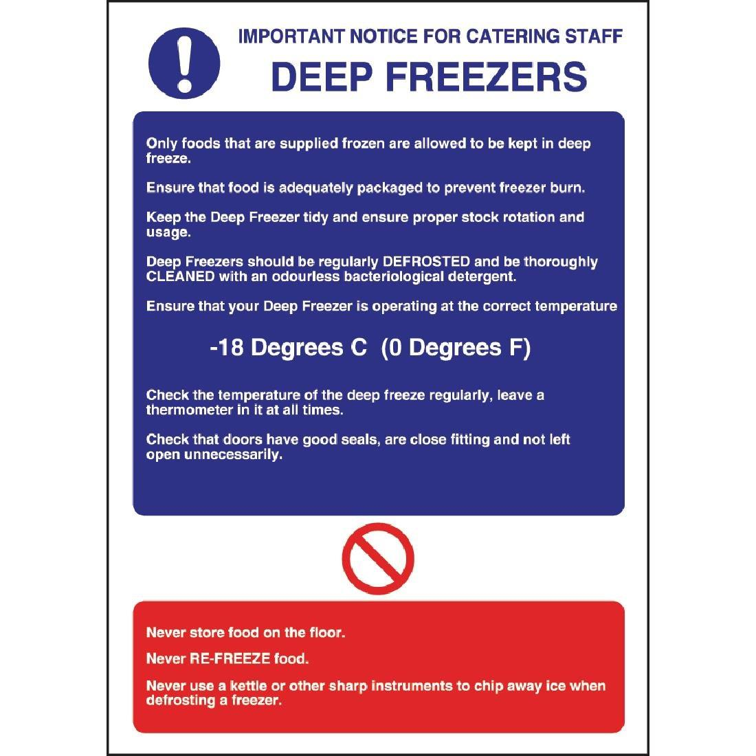 W195 - Deep Freezer Guidelines Sign