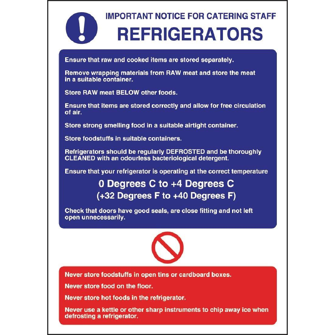 W196 - Refrigerator Guidelines Sign