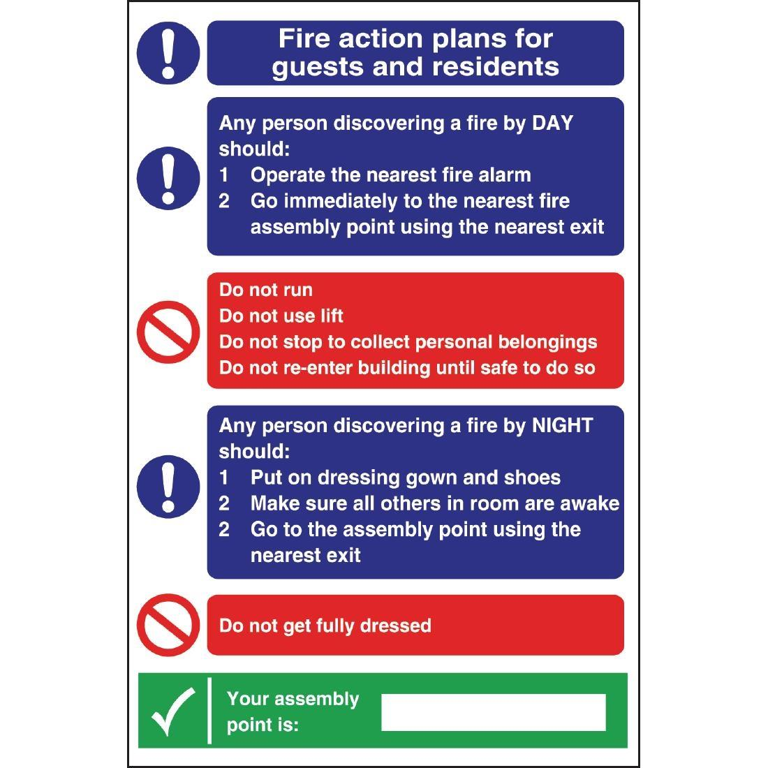 W218 - Fire Action Plan Sign For Guests & Residents