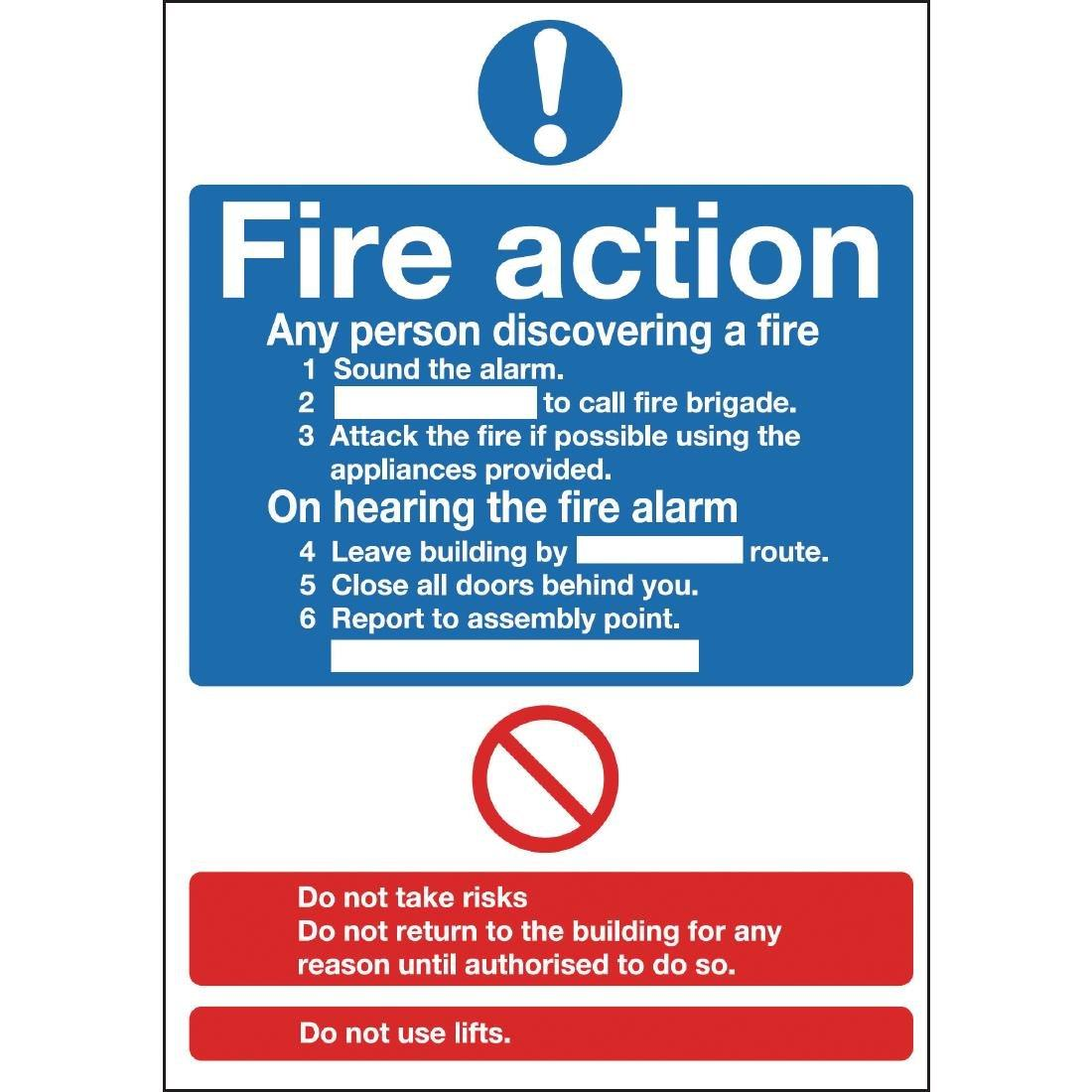 Y919 - Fire Action Sign