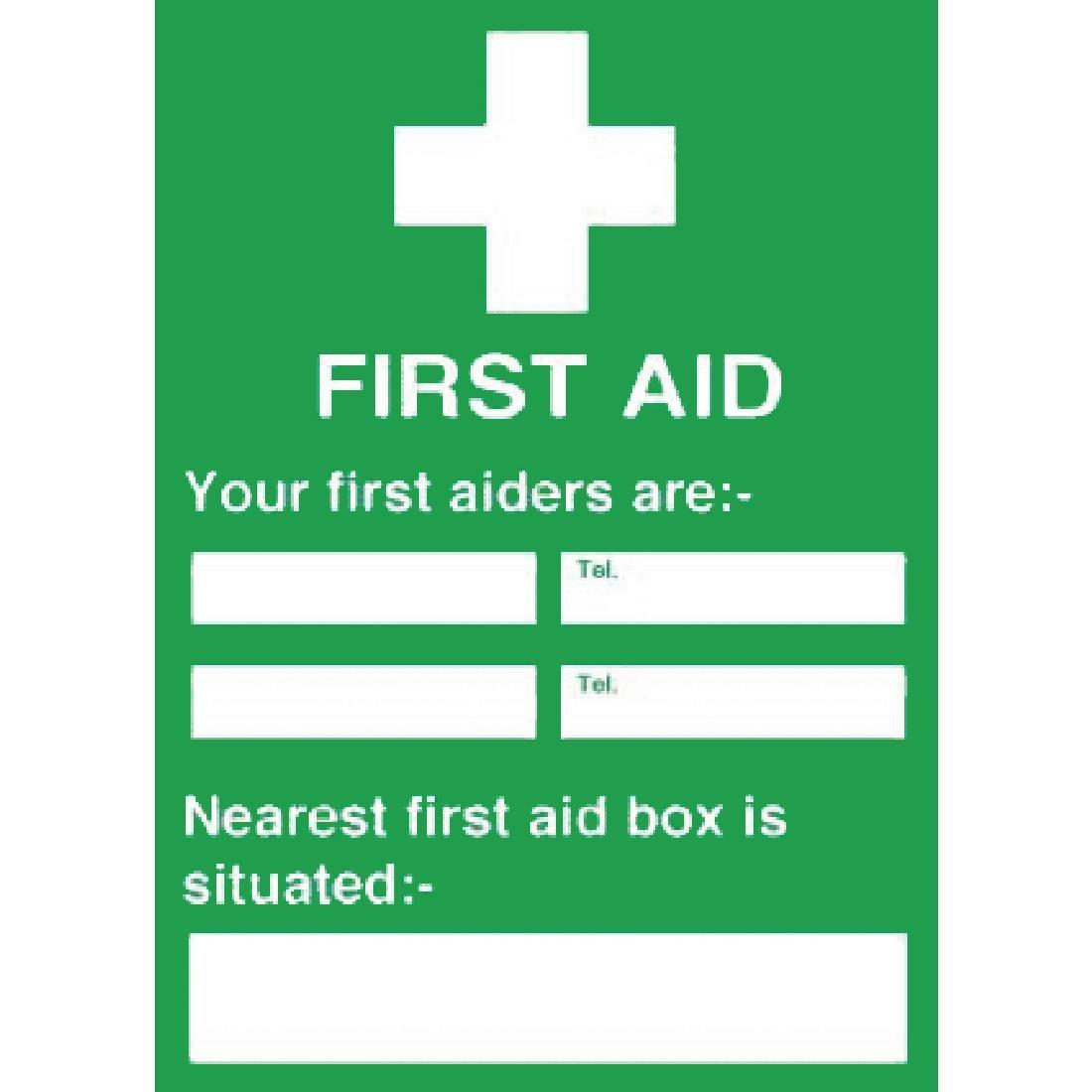 Y922 - First Aiders Nearest First Aid Box Sign