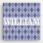Boys Personalized Diamond Pattern Canvas Sign